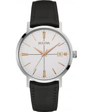 Bulova 98B254 Mens Aerojet schwarzes Lederband Uhr