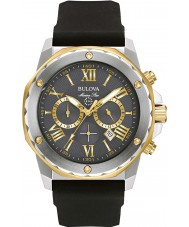 Bulova 98B277 Mens Marine Star Stahl schwarzes Kautschukband Uhr