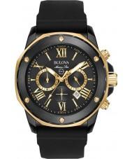 Bulova 98B278 Mens Marine Star Gold schwarzes Kautschukband Uhr