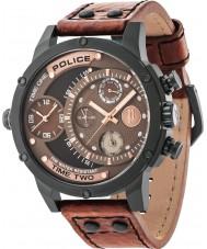 Police 14536JSB-12A Mens Addierer braunes Lederband Uhr