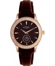 Rotary LS02907-16 Damen Uhren Kristalle braunes Zifferblatt und Lederarmband Uhr