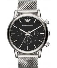 Emporio Armani AR1808 Mens klassische Chronograph Silber Mesh-Armbanduhr