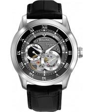 Bulova 96A135 Herren Automatikuhr schwarzes Lederband Uhr