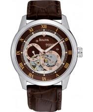 Bulova 96A120 Mens automatische braunes Lederband Uhr