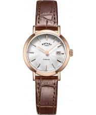 Rotary LS05304-02 Damen Uhren windsor Roségold vergoldet braunes Lederarmband Uhr