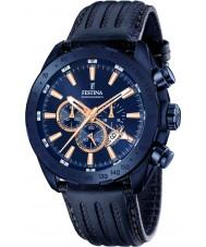 Festina F16898-1 Mens Prestige blaues Leder Chronograph