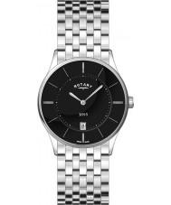 Rotary GB08200-04 Mens ultra dünne schwarze Stahl-Uhr