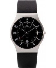 Skagen 233XXLSLB Mens klassik schwarzes Lederband Uhr