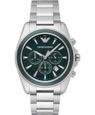 Emporio Armani AR6090 Mens grün silber Chronograph Sportuhr