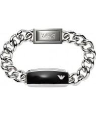 Emporio Armani EGS1729040 Mens Unterschrift glatt schwarz matt-ID-Armband aus Stahl