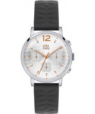 Orla Kiely OK2003 Damen frankie Chronograph schwarzes Lederband Uhr