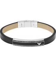 Emporio Armani EGS1923040 Mens Unterschrift schwarzes Leder-ID Armband