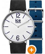 Ice-Watch CHL.B.FIN.41.N.15 Mens Eis-Stadt-Uhr mit blauem Nylon und schwarzem Leder-Riemen