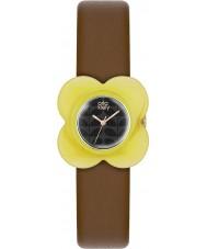 Orla Kiely OK2120 Damen Mohn gelb Fall braunem Lederband Uhr