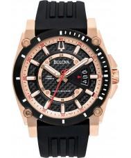 Bulova 98B152 Mens Precisionist Rotgold schwarze Uhr