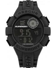 Superdry SYG193B Mens Radar Digital schwarz Silikonband Uhr