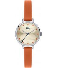 Orla Kiely OK2013 Damen Efeu Orange Lederband Uhr