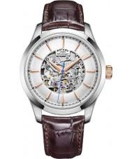 Rotary GS05032-06 Herren Silber Ton braun Skelett mechanische Uhr