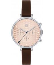 Orla Kiely OK2017 Damen Efeu Chronograph dunkelbraun Lederband Uhr