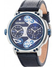 Police 14693JSTBL-03 Mens Steampunk-blauen Lederband Uhr