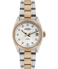 Rotary LB02662-02 Damen Uhren havanna zwei Ton stieg goldene Uhr