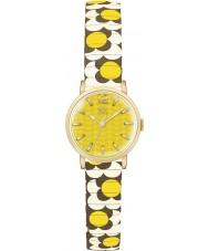 Orla Kiely OK4044 Damen Blume Pop Senfcreme braun expandierende Armbanduhr