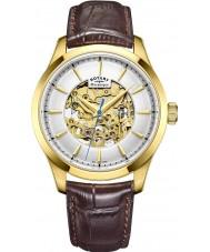 Rotary GS05035-03 Mens vergoldet braun Skelett mechanische Uhr