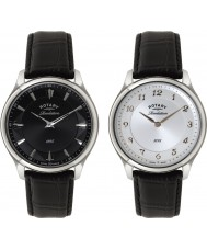 Rotary GS02965-04-22 Mens Offenbarung schwarzes Lederarmband Uhr mit reversibler Wahl