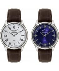 Rotary GS02965-05-21 Mens Offenbarung braunes Lederarmband Uhr mit reversibler Wahl