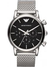 Emporio Armani AR1811 Mens klassische Chronograph schwarz Silber Mesh-Armbanduhr
