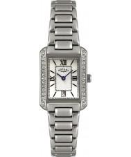 Rotary LB02650-41 Damen Uhren Kristall Lünette weiß Stahl-Uhr