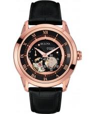 Bulova 97A116 Herren Automatikuhr schwarzes Lederband Uhr