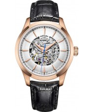 Rotary GS05036-06 Herren Roségold schwarz Skelett mechanische Uhr plattiert