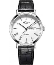Rotary GS05300-01 Herren-Uhren windsor Stahl schwarzes Lederband Uhr